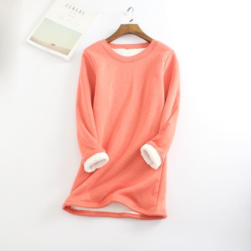 2019 새로운 가을 겨울 플러스 벨벳 긴 소매 셔츠 여성 따뜻한 두꺼운 t 셔츠 빈티지 streetwear 슬림 숙녀 탑스