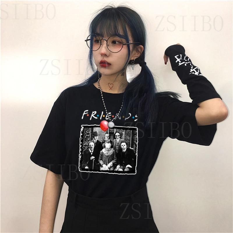 [해외]Penny wise Michael Myers Jason Horror Character Halloween Friend Tv Show Print T-shirt Women Plus Size casual Clown Terror tops/Penny wi