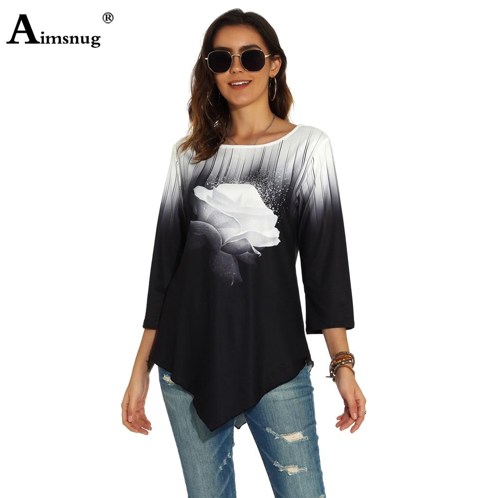 [해외]Plus size 4xl 5xl Women New Autumn Three-dimensional printing Tops Nine Points Sleeve Elasticity Female T-Shirt Casual Loose/Plus size 4