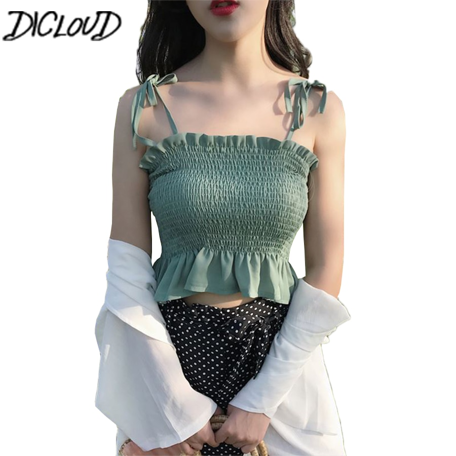 DICLOUD 솔리드 타이 보우 Camis Streetwear 튜브 탑 여성 패션 Ruched Pleated Crop Top 섹시한 Bustier Tees Feamle TankTops Camisole