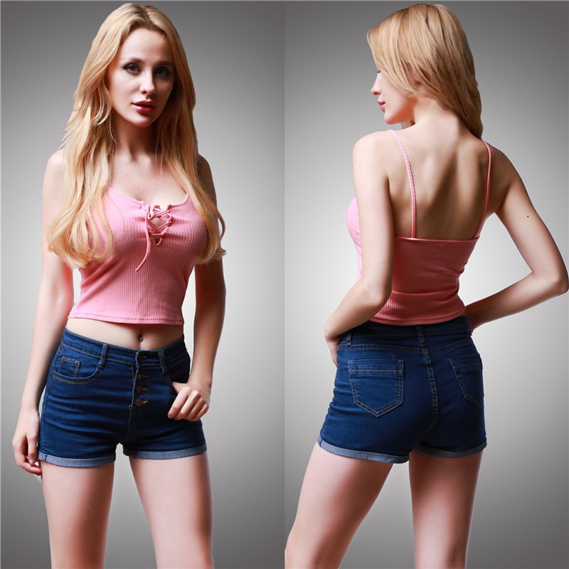 [해외]/Sexy Summer Women Camis Front Cross Lacing Up Tie Camisole Tank Female Strappy Bustier Crop Top Tank Short Tops Camis 6 Color