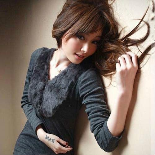 [해외]새로운 패션 코 튼 모피 토끼 머리 V- 넥 긴 Retail T- 셔츠 코트 Y-TX001/New Fashion Korea Faux Fur Rabbit Hair V-neck Long Sleeves T-Shirt Coat Y-TX001
