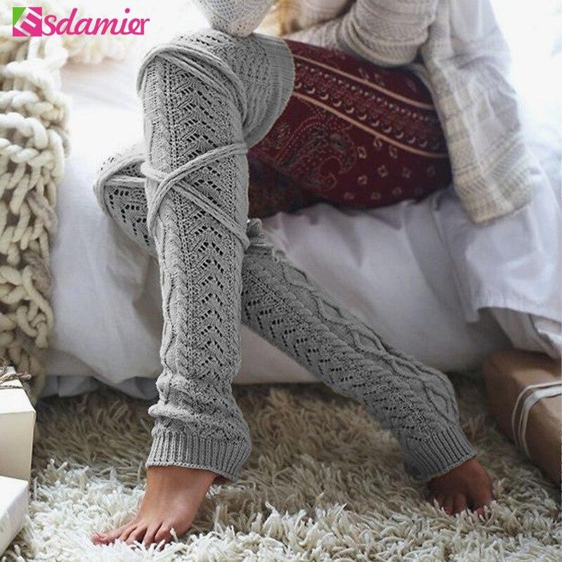 [해외]Winter Knitted Leg Warmers Twisted Lace Up Over Knee Stockings Female Knitwear Calentadores Piernas Mujer Boot Stockings/Winter Knitted Leg Warmer