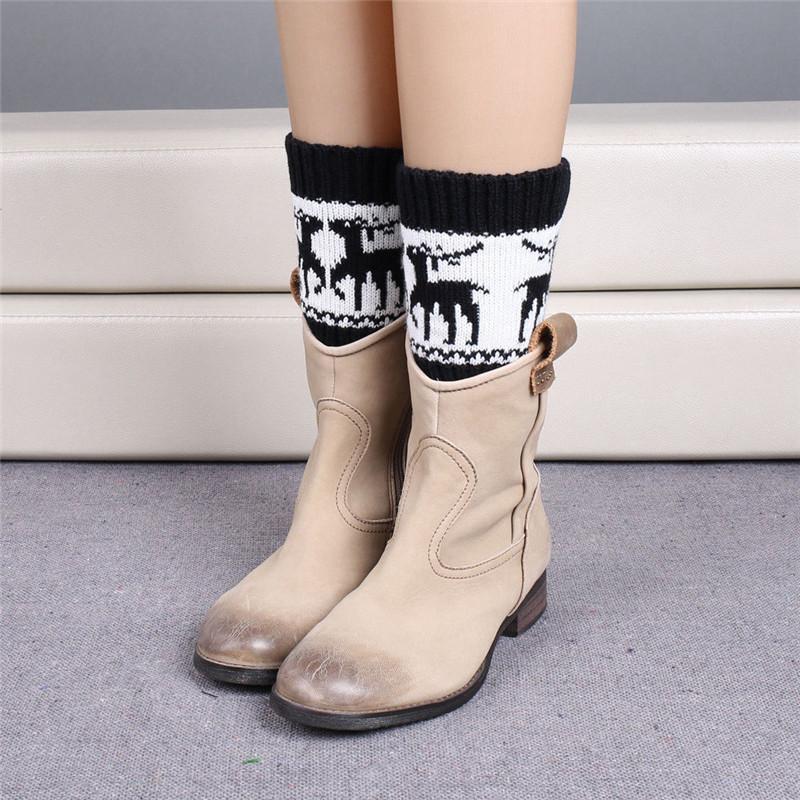 [해외]크리스마스 만화 Deer 겨울 Crochet Leg 워머 대 한 Women 니트 Boot Cuffs 인기있는
