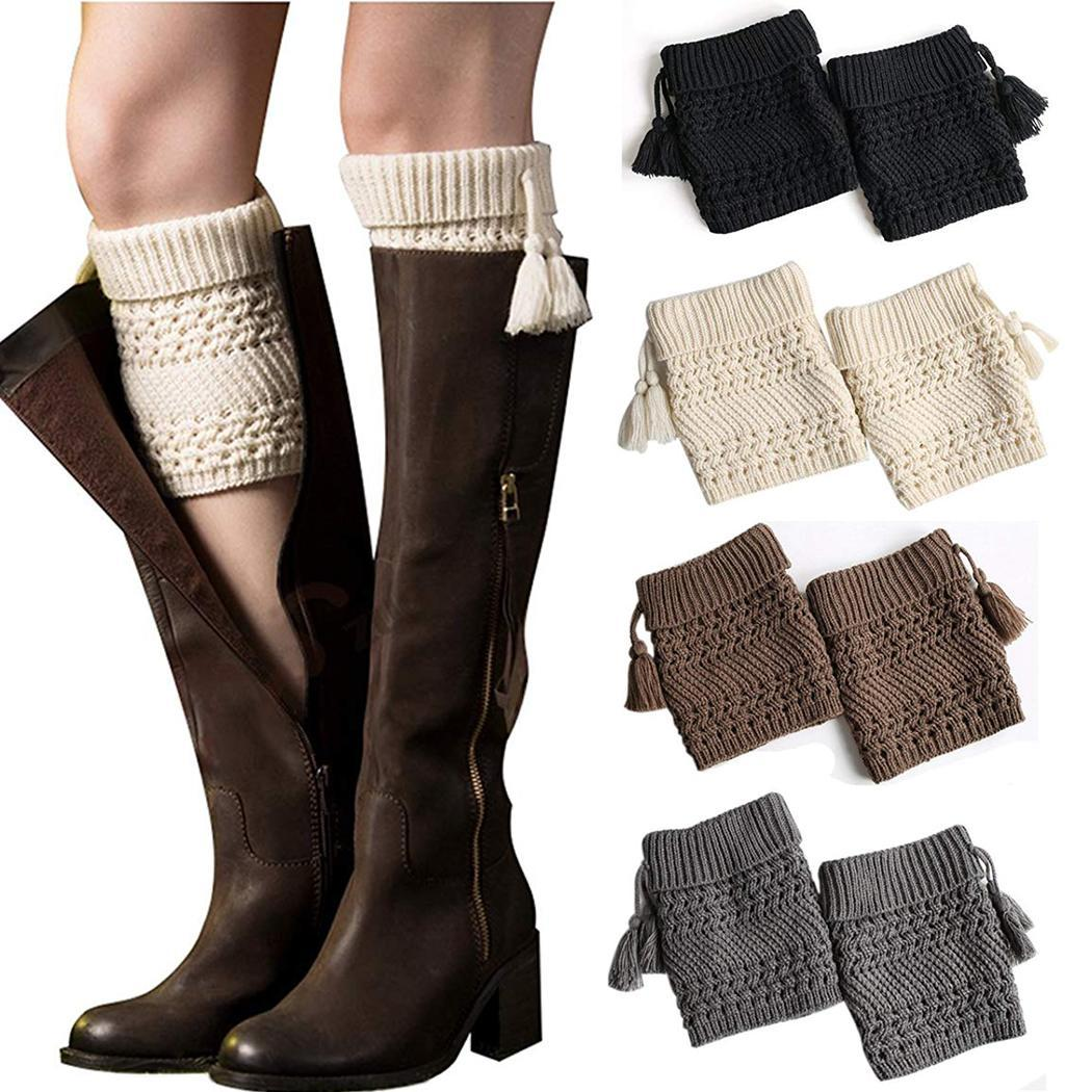 [해외]Women Knitted Pick Hole Twill Tassel Short Leggings Boots 54g Black/Gray/Khaki/White Cuff Pair of/Women Knitted Pick Hole Twill Tassel S