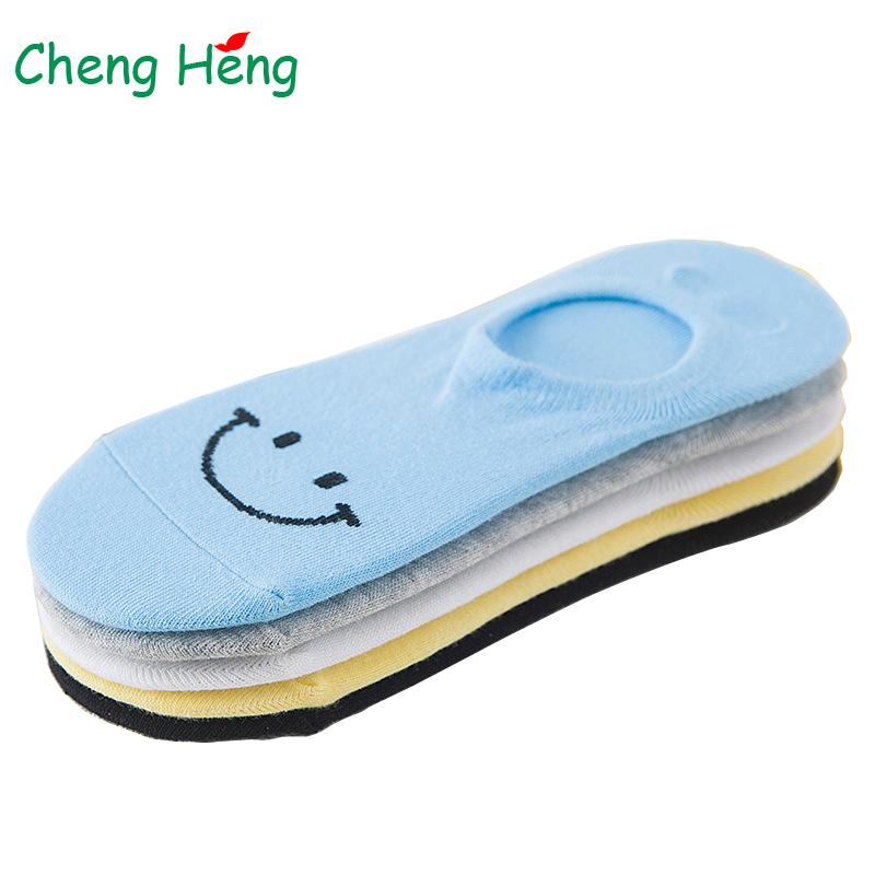 [해외]Womens Cotton Summer Autumn Boat Socks Silica Gel Non-slip Happy Smile Sweet Color Breathable Cool Anti Slip Sock Slippers Meias/Womens Cotton Sum