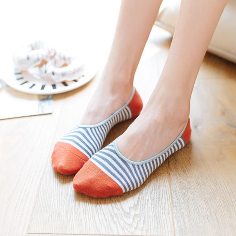 [해외]Summer Woman Cotton Invisible Stripe Motion Socks Low Ankle Sock Boy Boat Casual Sock Slippers 1pair/Summer Woman Cotton Invisible Stripe Motion S