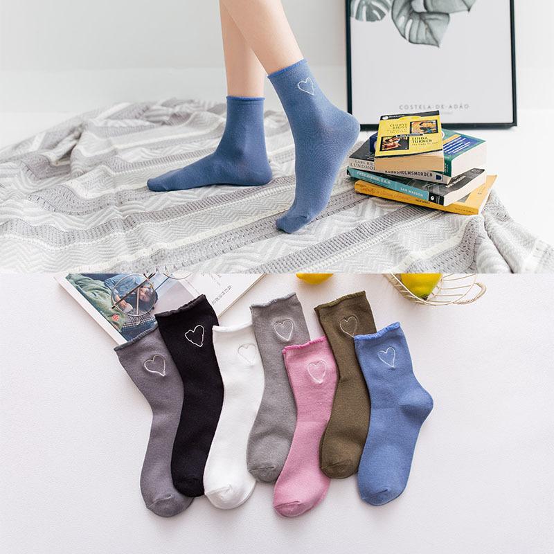 [해외][La MaxPa] 귀여운 카와이이 양말 여성용 하트 무늬 소프트 통기성면 양말 발목 높은 캐주얼 양말 양말 패션 스타일/[La MaxPa] New Kawaii Cute Socks Women Heart Pattern Soft Breathable Cotton So
