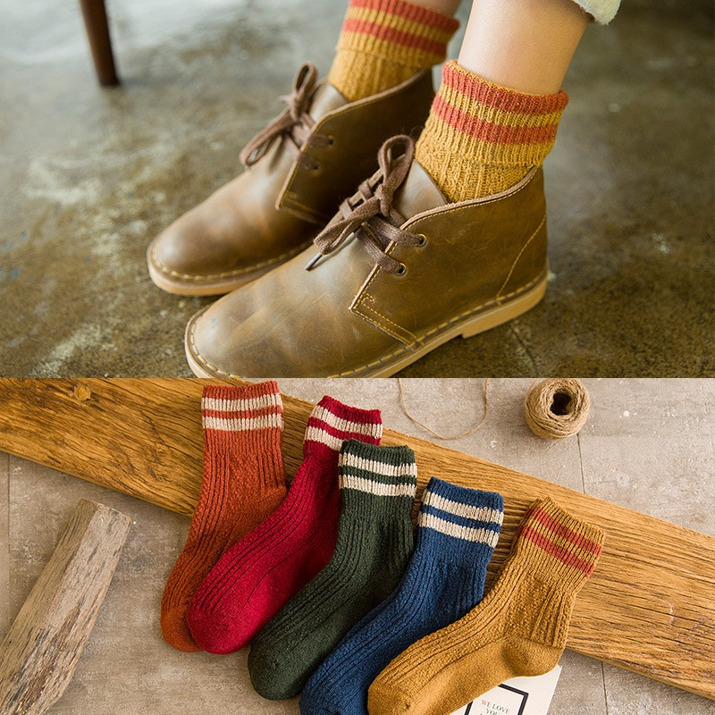 [해외]Autumn and winter new fashion warm women in the tube socks Harajuku style thick line casual socks 5 pairs/Autumn and winter new fashion warm women