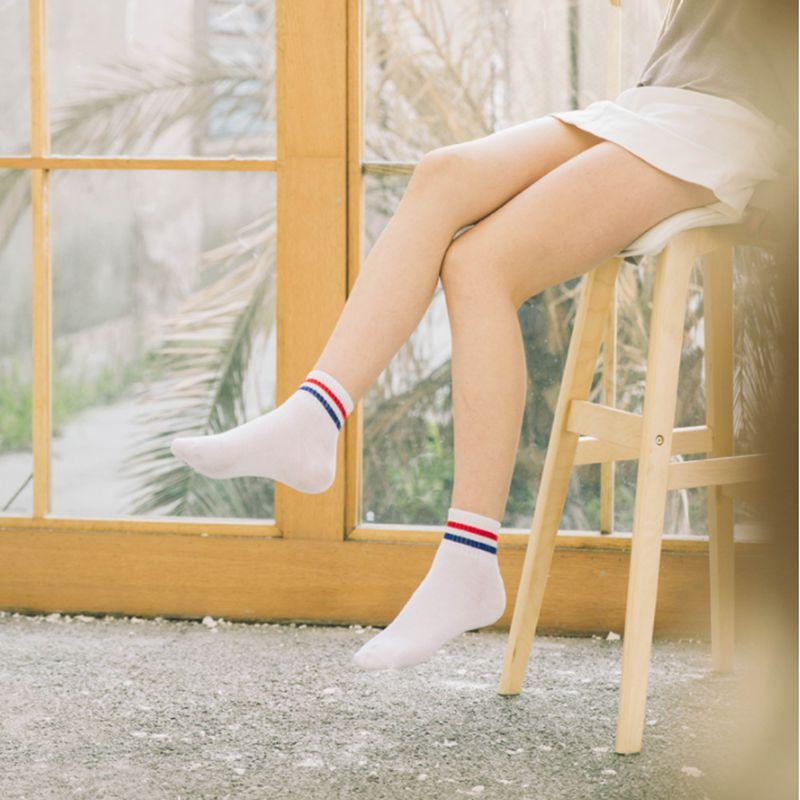 [해외]10 pieces = 5 짝/몫 부드러운 코튼 숙녀 검은 색 흰색 줄무늬 튜브 두꺼운 발목 양말 스타일 스포츠 하라주쿠 meias tj211/10 pieces = 5 짝/몫 부드러운 코튼 숙녀 검은 색 흰색 줄무늬 튜브 두꺼운 발목 양말 스타일